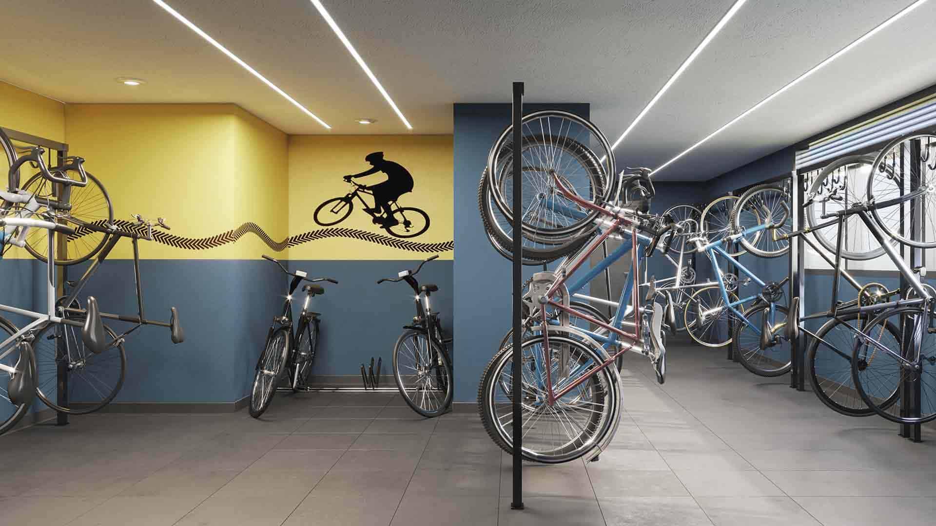 Perspectiva artística do bicicletário.