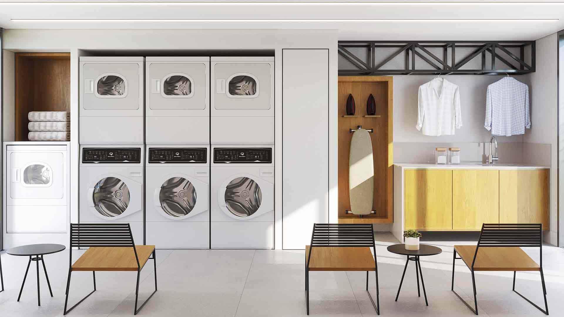 Perspectiva artística da lavanderia coletiva.