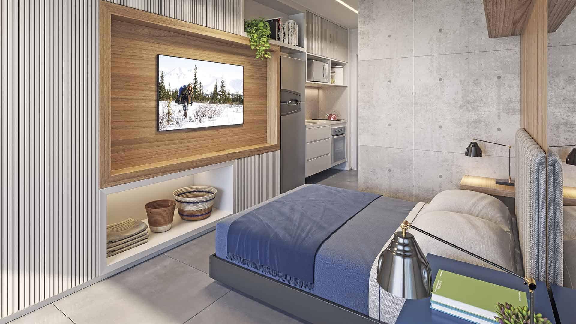 Perspectiva ilustrada do living do apto. de final 3 (27,13 m²).