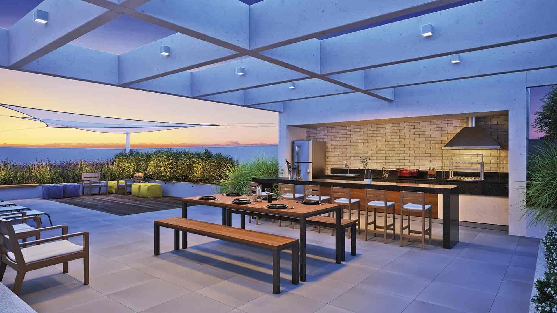 Perspectiva artística da churrasqueira integrada ao lounge.